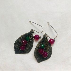Jewelry - handcrafted leaf bead hoop earrings silver, agate